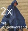 2 Stück Regenponcho, Blau, Einheitsgröße