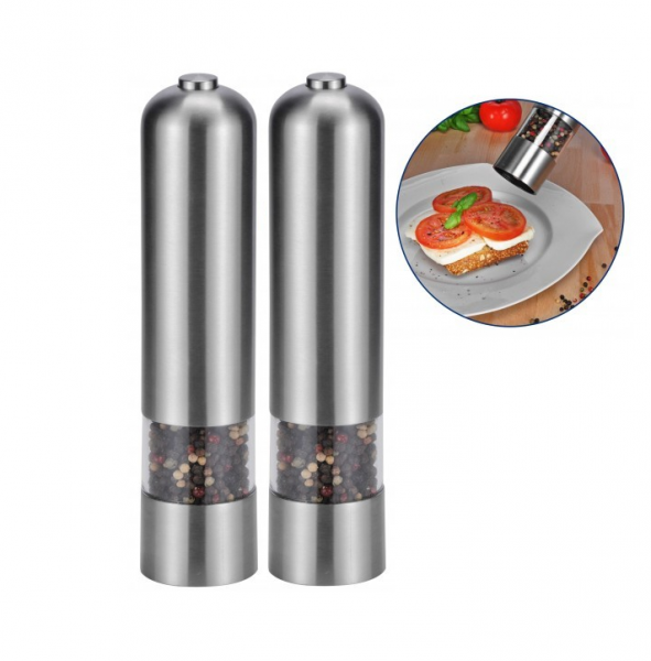set of two electric salt and pepper mill shakers stainless. Black Bedroom Furniture Sets. Home Design Ideas