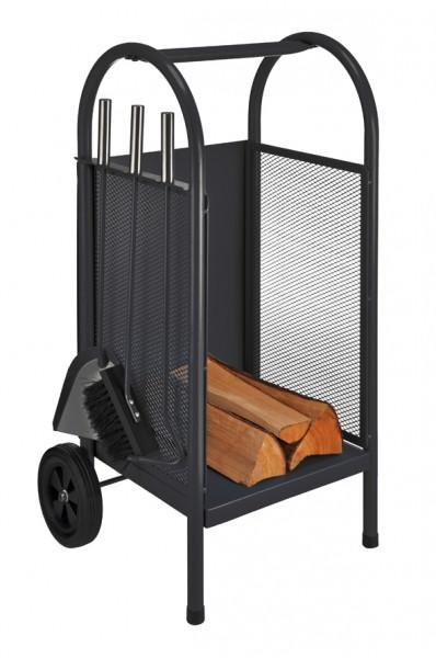 Carrito madera cesta para le a estufa cuberter a de for Cestas para lena