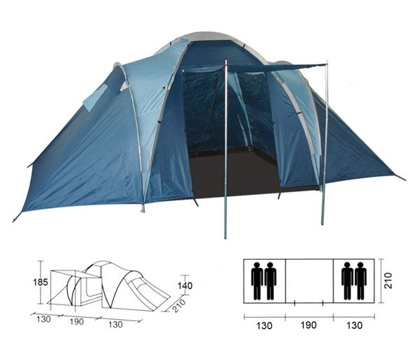 4 persons tent camping tent camping family tent igloo tent with 2 indoor ebay. Black Bedroom Furniture Sets. Home Design Ideas