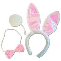 3tlg. Bunny Set Hasen Kostüm Häschen Verkleidung Hasenohren Fliege pink weiß