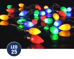 LED Partylichterkette Gartenbeleuchtung Party Lichterkette Bunt Garten 25 Lampen