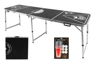 PROFI Aluminium Bierpong-Tisch Beer Bier Pong Table + 12 Becher und 6 Bälle