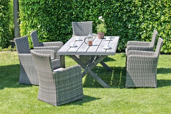 7 teilige gruppe anzio tisch gartentisch sessel stuhl garten terrasse sitzgruppe ebay. Black Bedroom Furniture Sets. Home Design Ideas