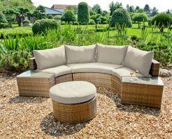 Garten Sofa Couch Sitzgruppe Sitzecke Tischgruppe Loungegruppe halbkreisförmig