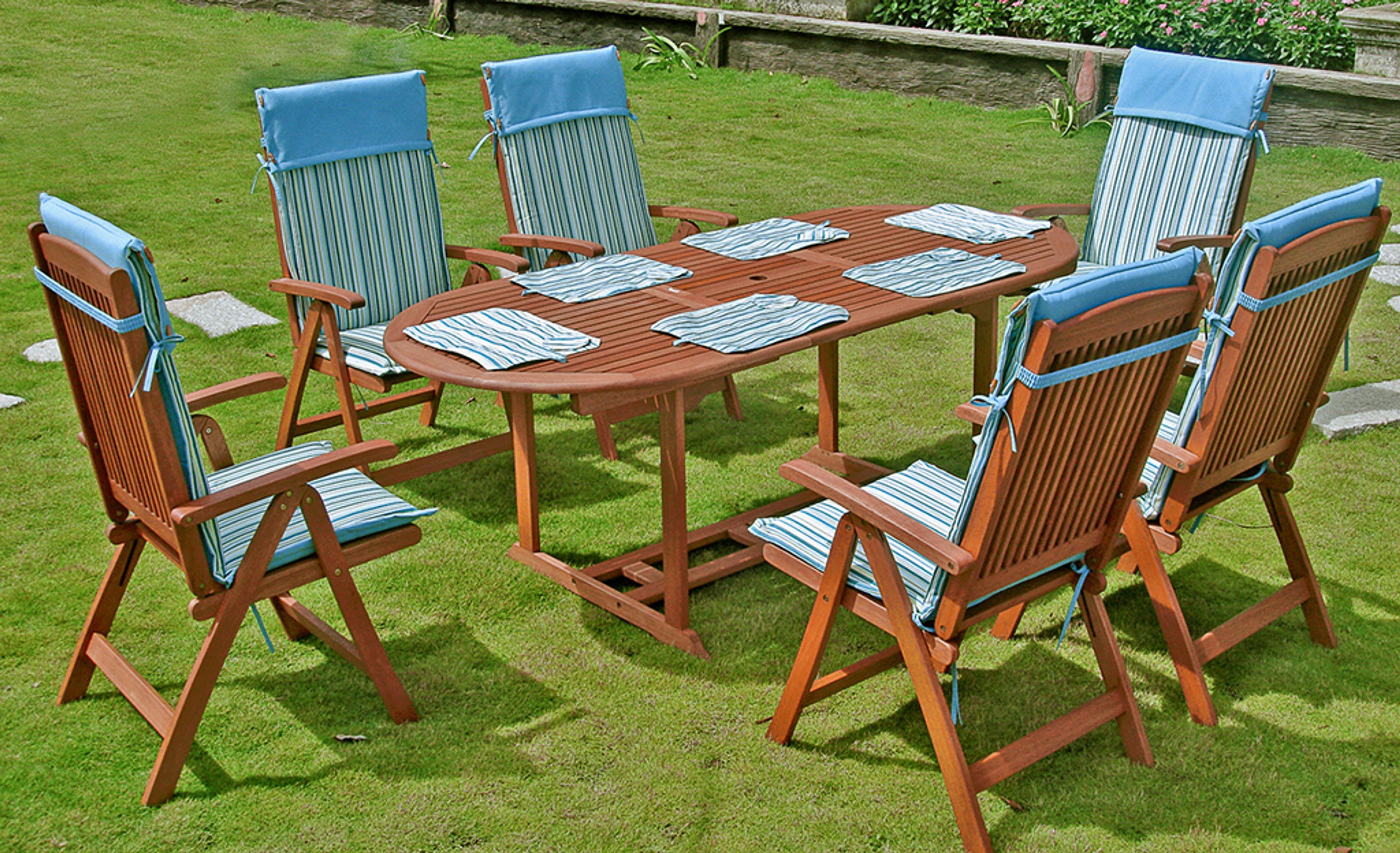 Sitzgruppe Gartentisch Gartengarnitur Garten Möbel Holz Stuhl Tisch