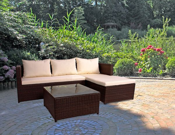eckgruppe lounge sitzecke sitzgruppe garten terrasse gartenm bel loungegarnitur ebay. Black Bedroom Furniture Sets. Home Design Ideas
