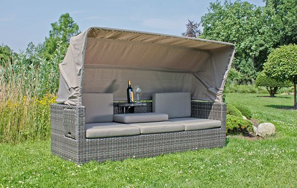 multi sofa couch mit dach loungesofa gartensofa liegen garten gartenm bel ebay. Black Bedroom Furniture Sets. Home Design Ideas