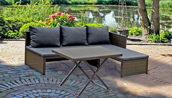 3 tlg gartensofa lounge sofa couch sitzgruppe sitzecke. Black Bedroom Furniture Sets. Home Design Ideas