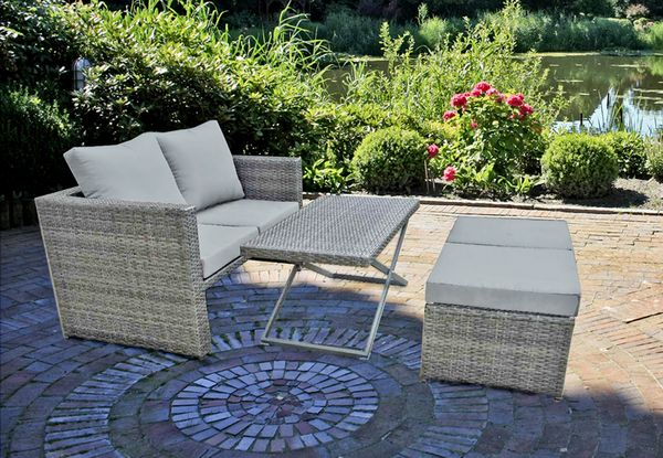 4 tlg sofa set loungegruppe sitzecke sitzgruppe gartengarnitur garten terrasse ebay. Black Bedroom Furniture Sets. Home Design Ideas