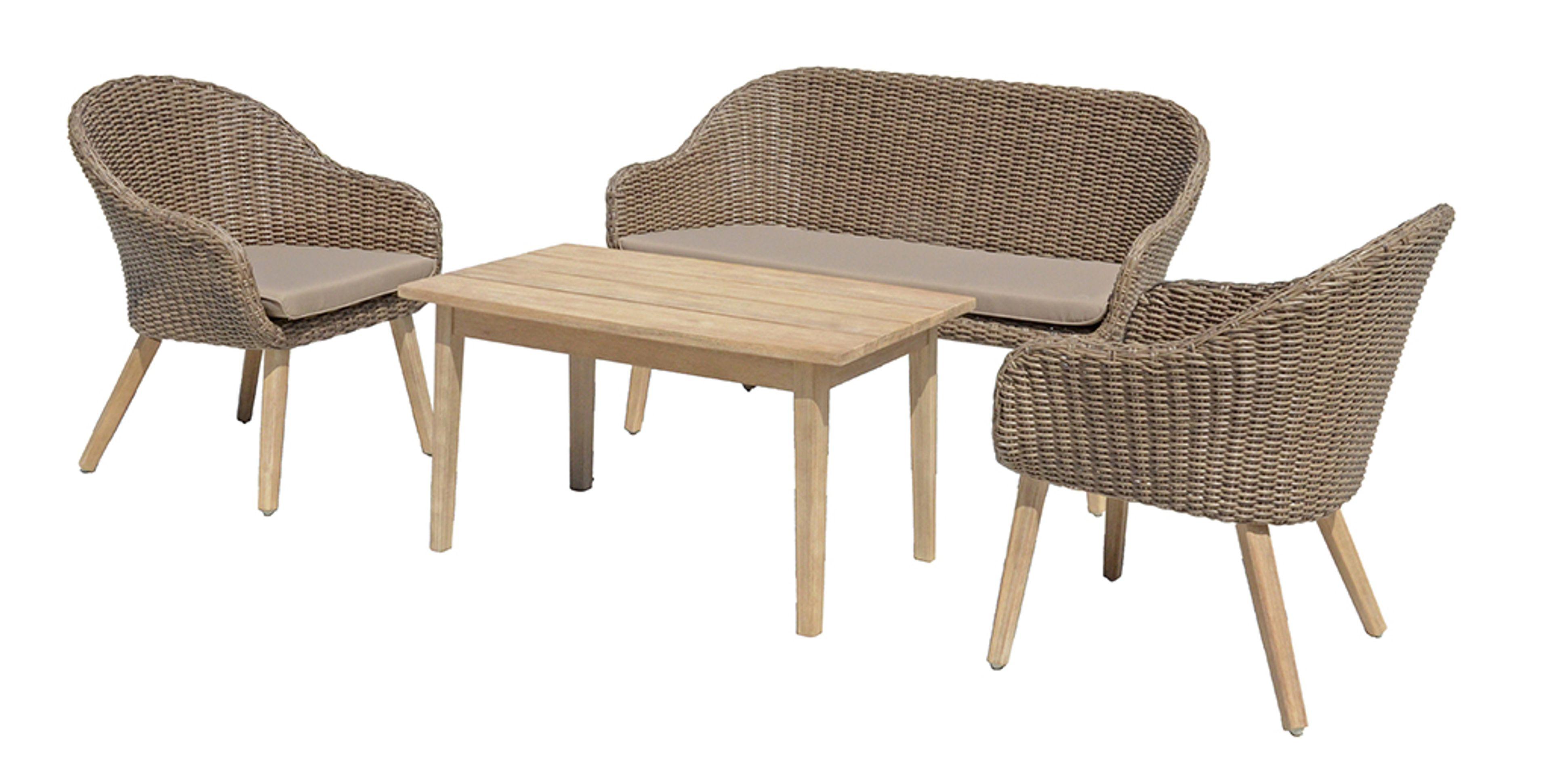 4 Tlg Lounge Gruppe Gartengarnitur Sitzgruppe Sitzecke Bank Sofa