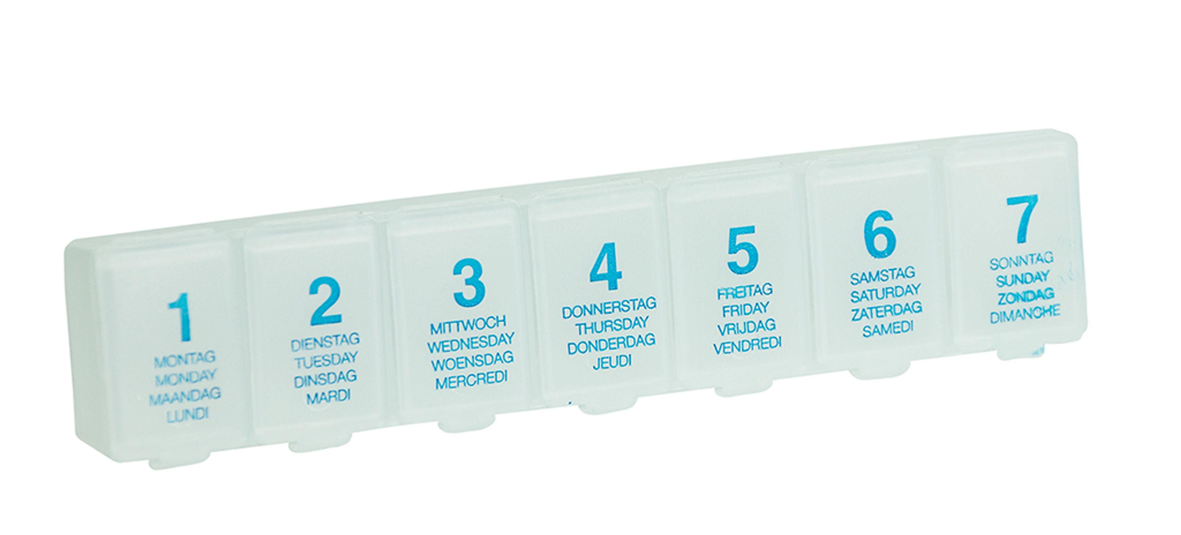 pillenbox pillendose tablettendose medikamente box dose 7 tage transparent haushaltswaren. Black Bedroom Furniture Sets. Home Design Ideas
