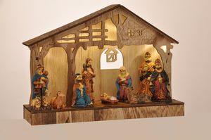 Krippe Weihnachtskrippe Krippenstall Weihnachten Figuren Deko beleuchtet