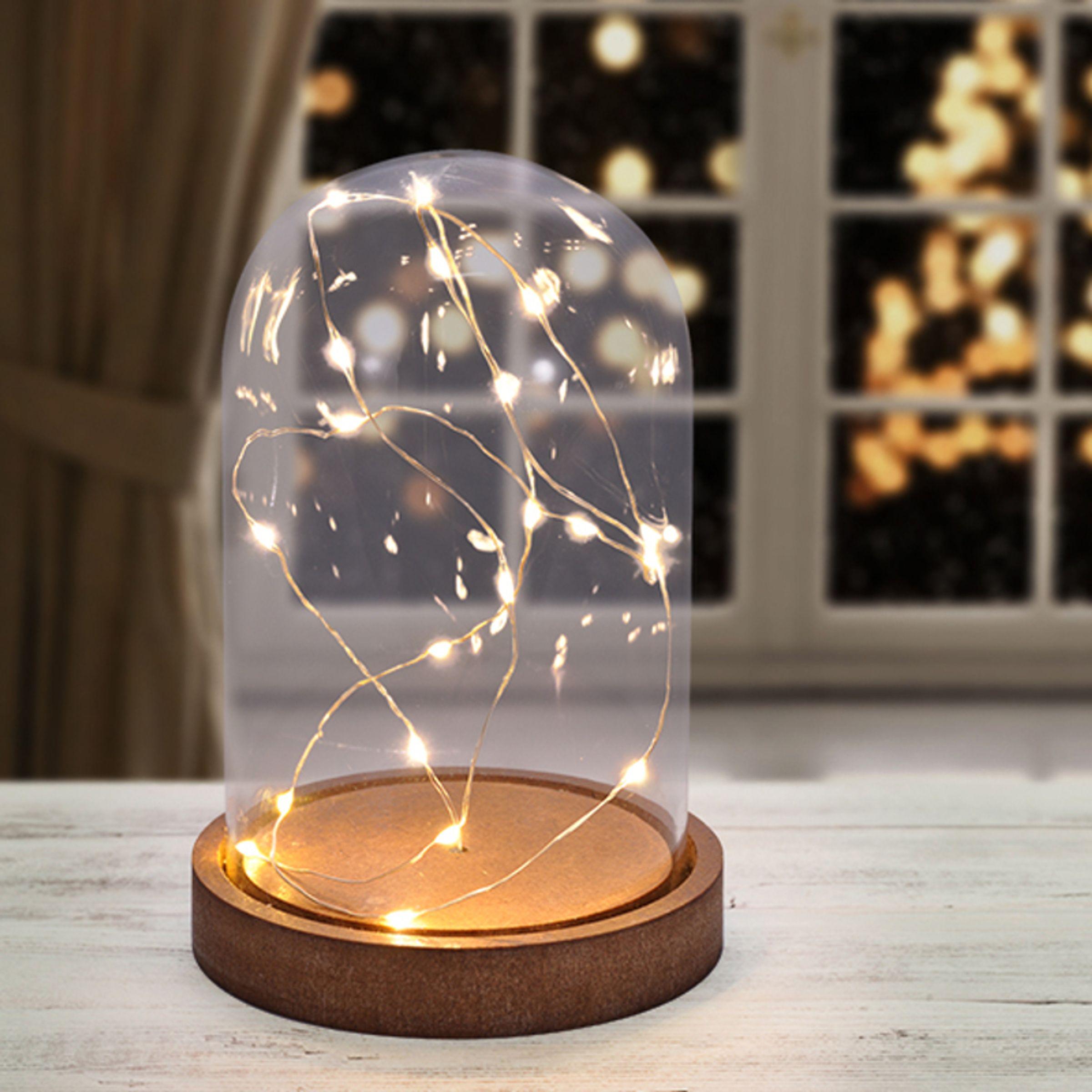 Weihnachtsdeko Beleuchtet.Deko Glasglocke Bell Glas Glocke Lichter Weihnachtsdeko Beleuchtet 20 Mini Led