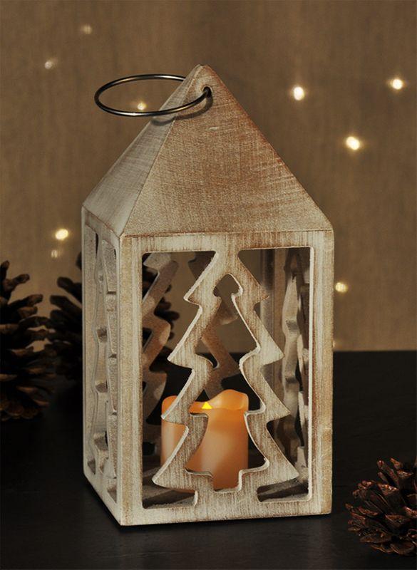 holzlaterne laterne windlicht kerzenhalter weihnachten deko mit led kerze ebay. Black Bedroom Furniture Sets. Home Design Ideas