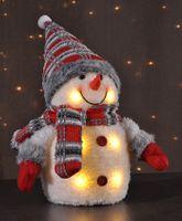 Schneemann Weihnachten Dekofigur Winter Schnee Figur Deko mit weissen LED