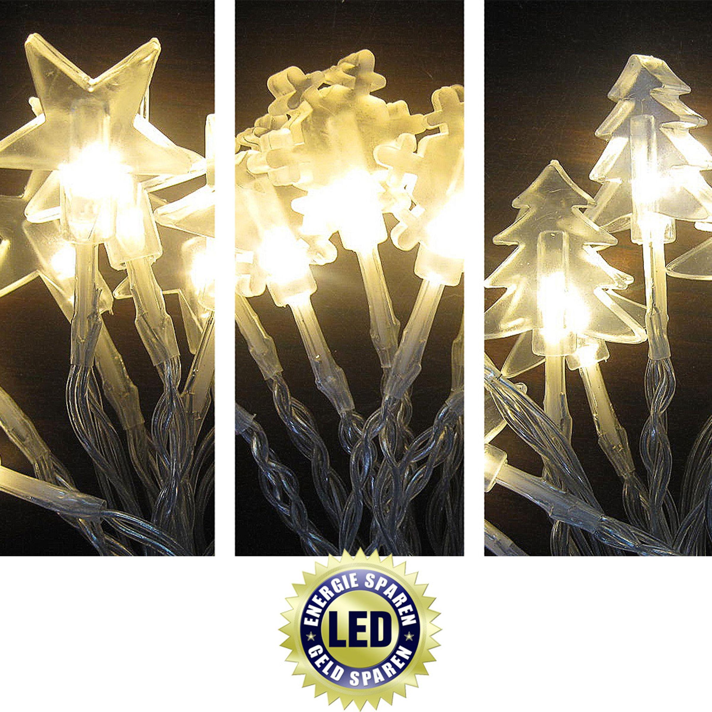 Lichterkette mit 20 LEDs Schneeflocken warmweiß Batterie Lichterketten