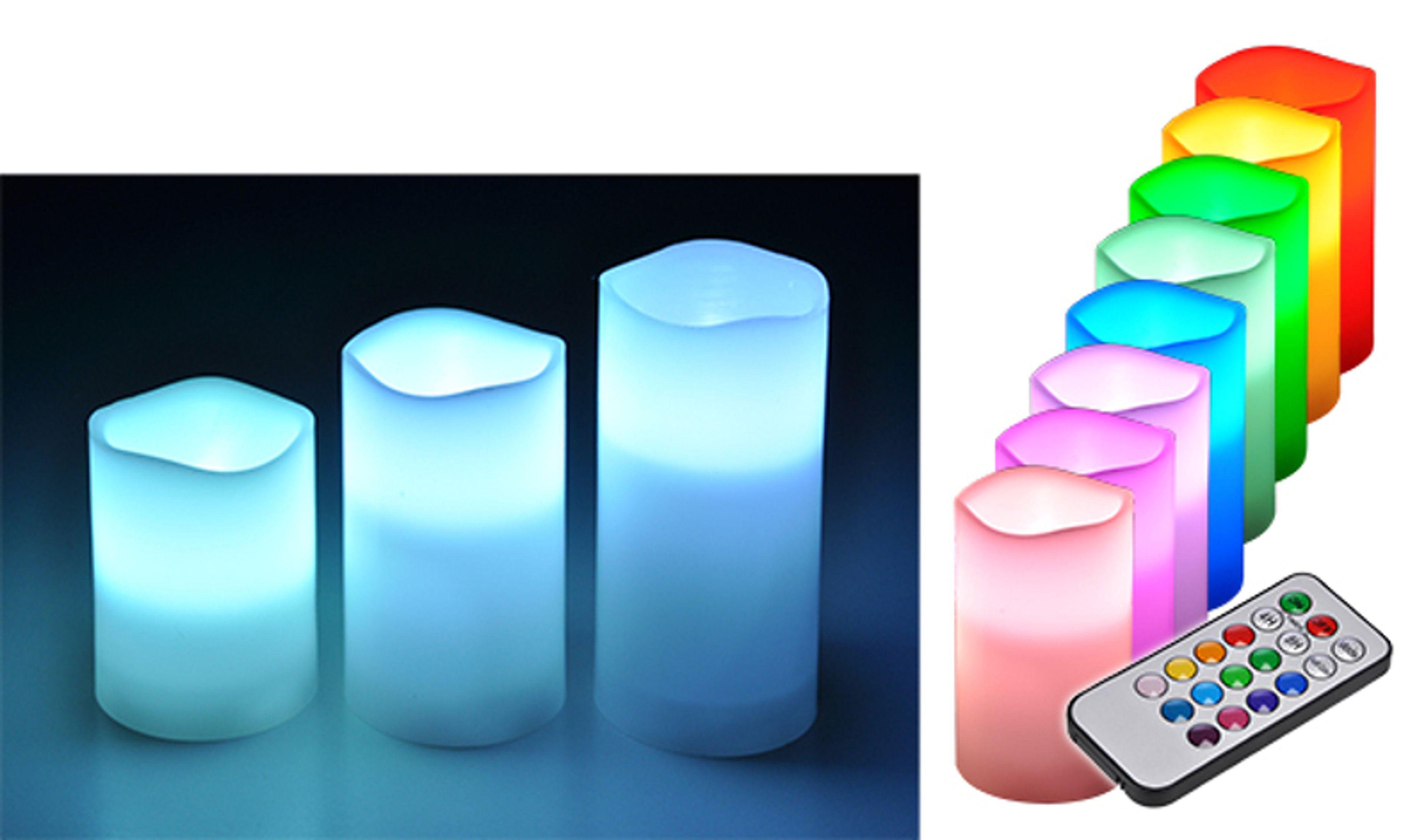 3er set led flammenlose kerzen s ulenkerze wachskerze stumpenkerze farbwechsel haushaltswaren. Black Bedroom Furniture Sets. Home Design Ideas