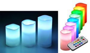 3er Set LED Flammenlose Kerzen Säulenkerze Wachskerze Stumpenkerze Farbwechsel