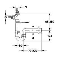 HAAS Waschmaschinen-Siphon DN 50 mit 2 Kombi-Geräteanschlüssen 1'' und 3/4''