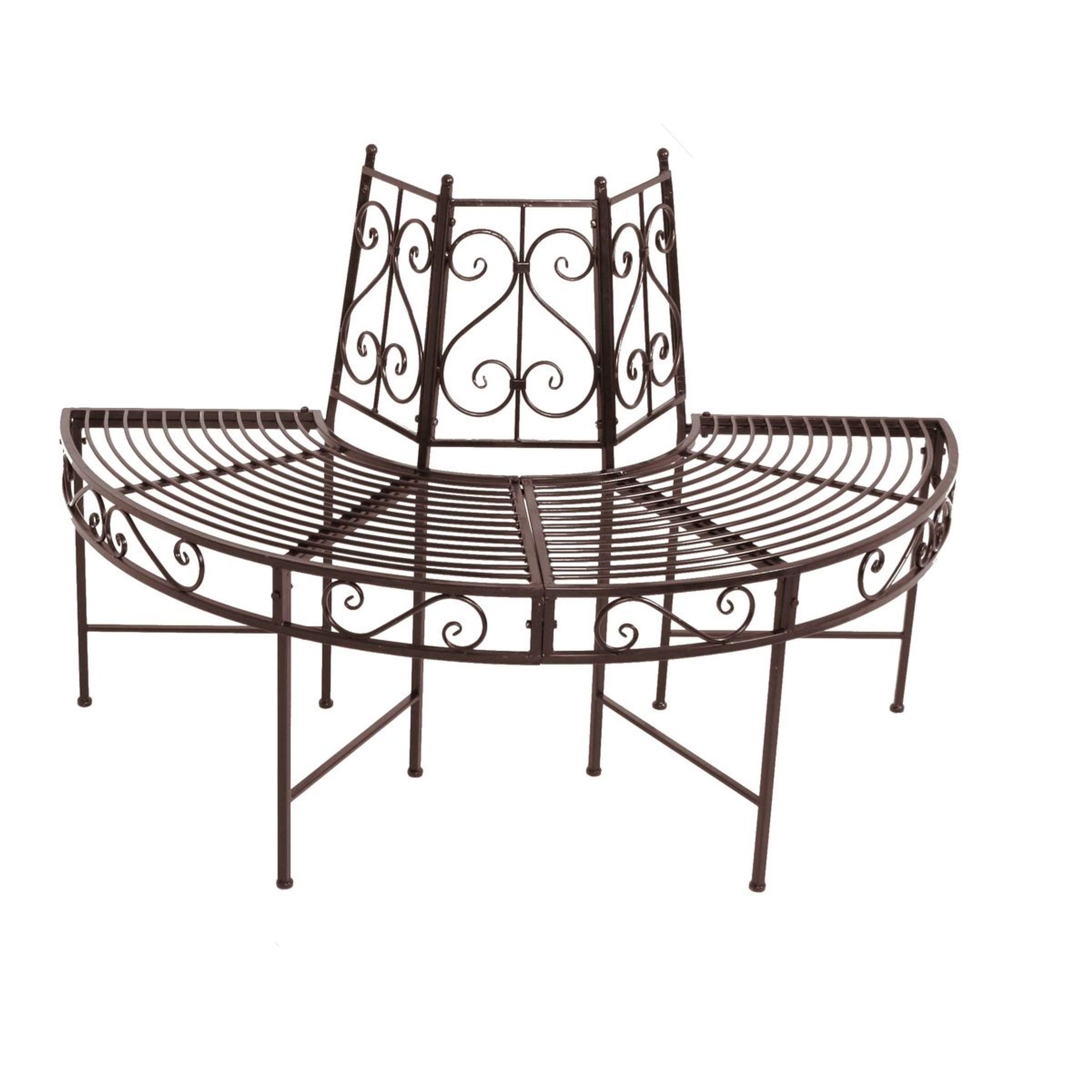 halbkreis baumbank metallbank sitzbank garten park bank metall rost optik ebay. Black Bedroom Furniture Sets. Home Design Ideas