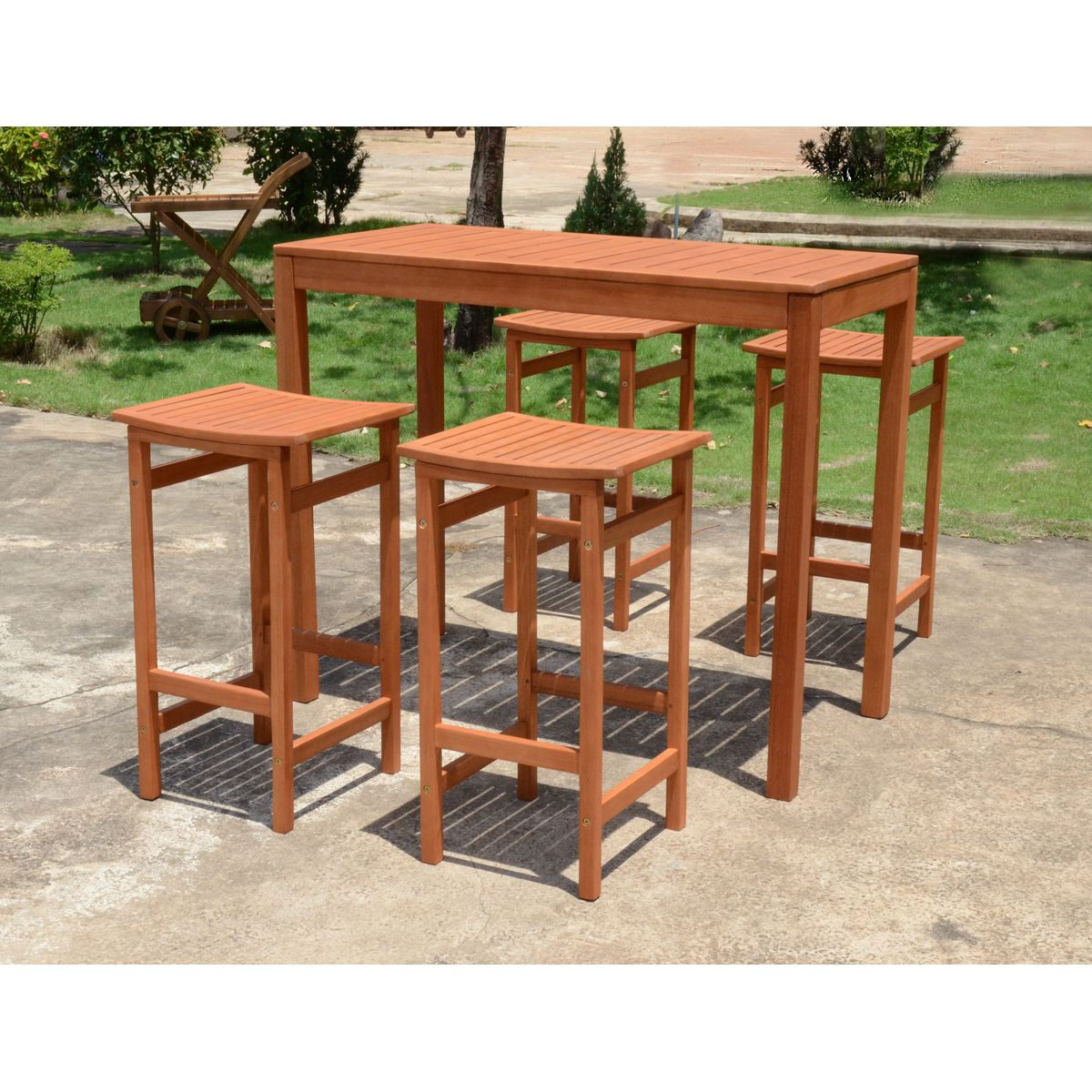 5 tlg bar set barhocker thekenhocker hocker bar theke tisch holz eukalyptus ebay. Black Bedroom Furniture Sets. Home Design Ideas