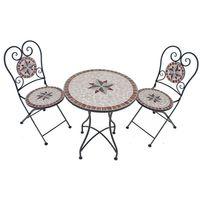 3-tlg. Balkonset Tischgruppe Balkongruppe Sitzgruppe Balkon Garten Mosaik