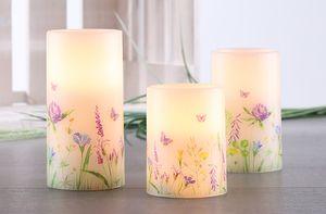 3-tlg. LED Wachskerzen Kerze Echtwachs Blumen Schmetterling Frühling Motiv