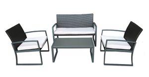 4-teilige Tischgruppe Sitzgruppe Gartengruppe Gartengarnitur Sofa Sessel Tisch