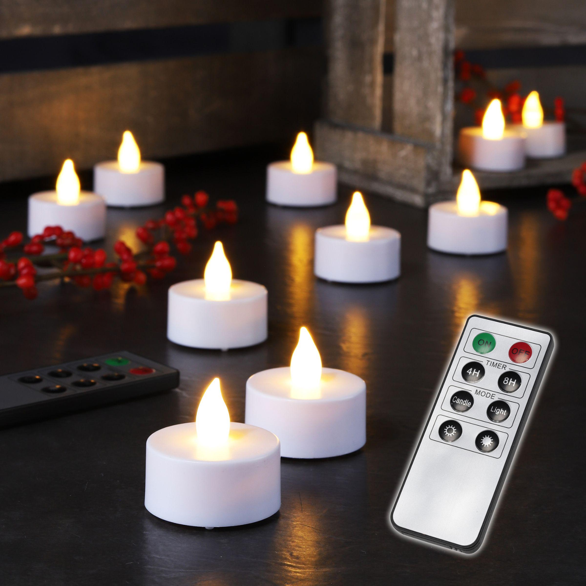 12er Set LED Kerzen Flackerkerzen Weihnachtskerzen Echtwachs Elektrokerzen